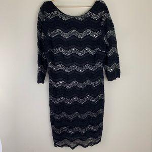 Shiny Black Chevron Print Lace Mini Dress Plus